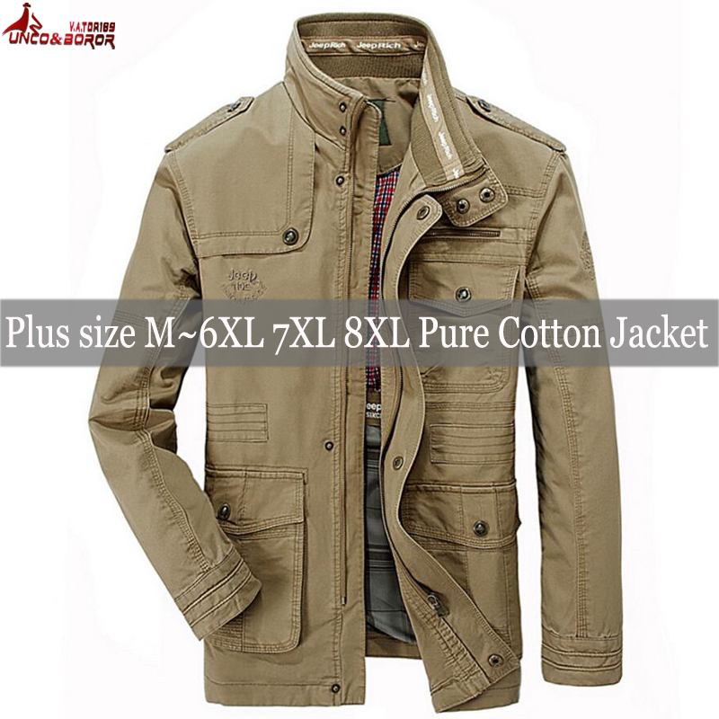 Image 2 - plus size 6XL 7XL 8XL 100% cotton Jackets Men Military Cargo Jackets Tactical Combat Business male Coat Pilot Bomber Jackets men-in Jackets from Men's Clothing