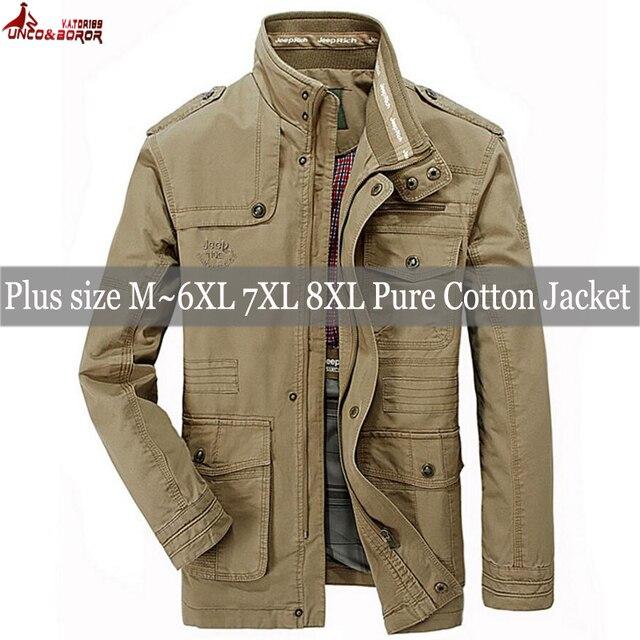 plus size 6XL 7XL 8XL 100% cotton Jackets Men Military Cargo Jackets Tactical Combat Business male Coat Pilot Bomber Jackets men 2