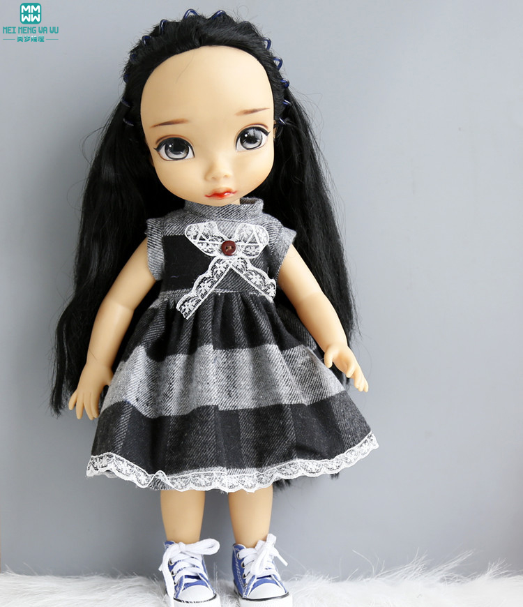 Ropa para muñecas se adapta a 16 pulgadas 40 cm salón muñeca Vestido blanco y negro