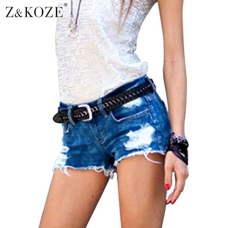 Zu0026KOZE Fashion Hole Style jeans shorts Sexy women Denim Shorts Low Waist Jeans Short feminino ...