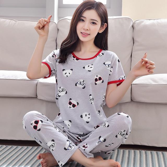 393fcfd0e Pajamas Sets Women Cute Panda 100% Cotton Character Fashion Women Short  Sleeve Sleepwear Suit 2 piece Sexy Summer Home Lounge