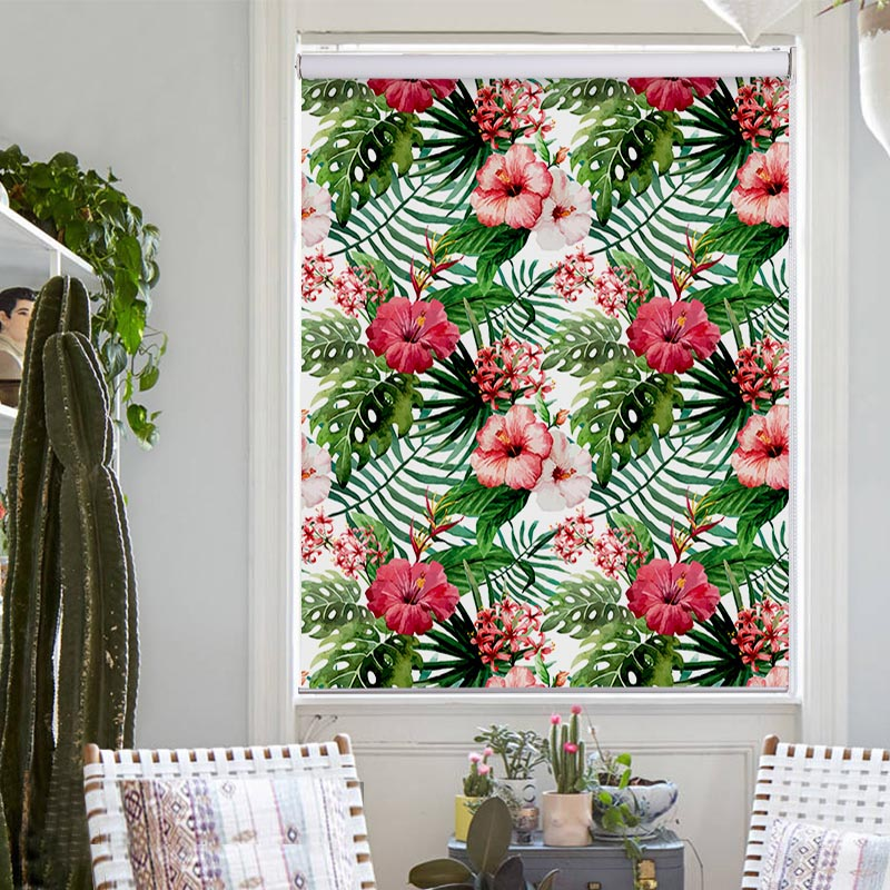 MOMO Roller Shades Blinds Blackout Water-Proof Window Curtains Roller Blinds Thermal Insulated Fabric Custom Size Flower 5