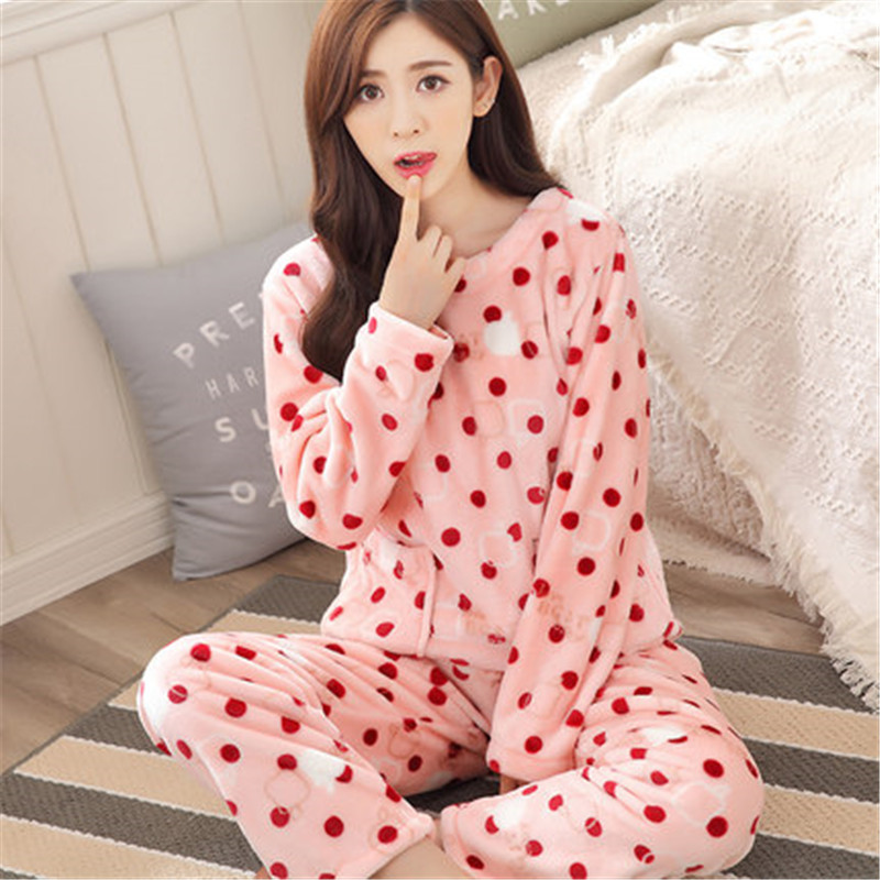 New Winter Pajamas Set Thick Womens Coral Velvet Lovely -6922