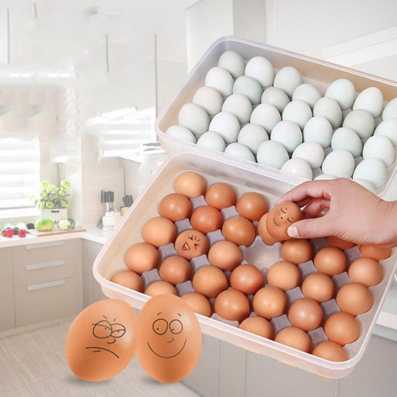 34 Grid Egg Storage Box Tray Refrigerator Fresh Box Storage Container Case Portable Eggs Crisper Bins Kitchen Product G30