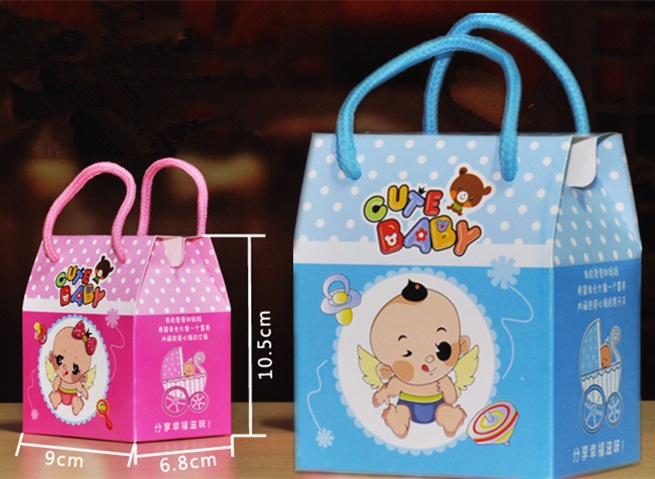 20pcs Personalized Handles Pink Blue Baby Shower Candy Box