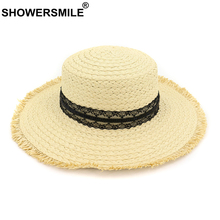 SHOWERSMILE Lace Sun Hat Women Summer Straw Female Large Floppy Vacation Protection Designer Brand Ladies Beach Hats