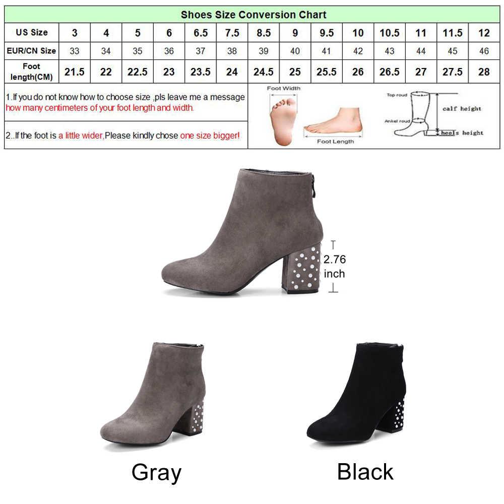 Meotina yarım çizmeler Kadınlar Kışlık Botlar Için Boncuklu Kalın Yüksek Topuk kısa çizmeler Sonbahar kadın ayakkabısı Fermuar Siyah Büyük Boy 33-46