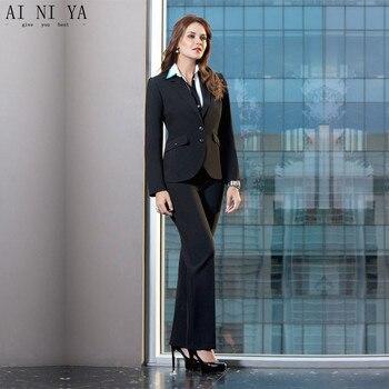 Black Ladies Pant Suits Fashion Elegant Women Business Suits Foemal 2 Piece Sets Female Office Uniform Two Buttons Custom Made 3