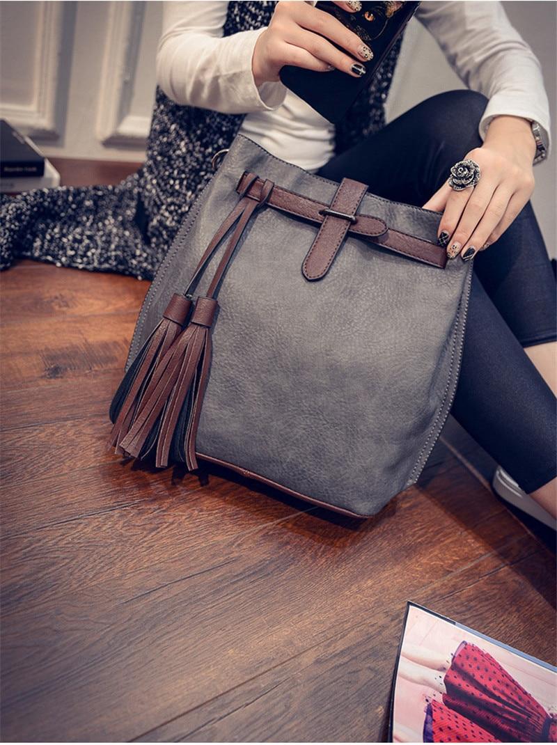 New Summer Fashion Trending Women Handbags PU Leather Crossbody Bag Bucket  Lady Vintage Tassel Shoulder Bags Girls Messenger Bag-in Shoulder Bags from  ... a141bf17cd394