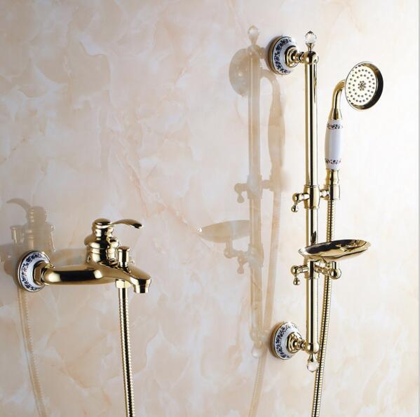 wall mounted bathroom shower set brass bath shower faucet with slide bar handheld shower head