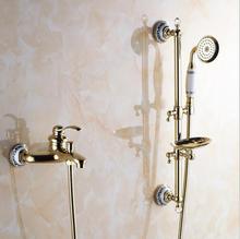 Wall Mounted Bathroom Shower Set Brass Bath Shower Faucet With Slide Bar + Handheld  Shower Head