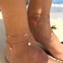 Beach Multi Layer Key Round Star Anklets Bracelets For Female Fashion Mosaic Zircon Gold Color Chain Girl Wedding Gifts