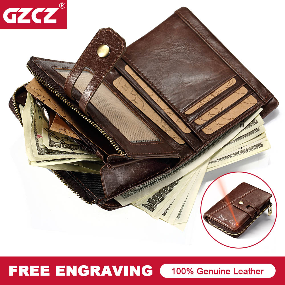 GZCZ Men Genuine Leather Wallet Vintage Male Purse Card Holder Luxury Short Walet Hasp&Zipper Drop Shopping Money Bag Portomonee