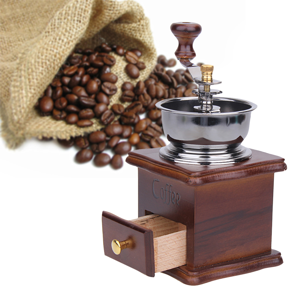 High Quality Mini Manual Coffee Mill Wood Stand Bowl Antique Hand Coffee Bean Grinder
