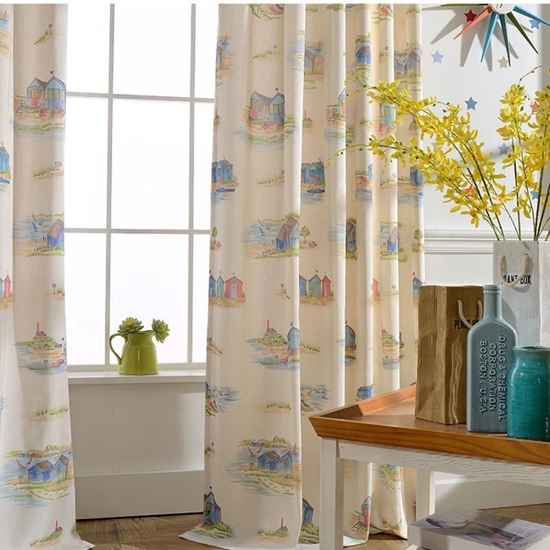 Light Yellow Cartoon Curtains Mediterranean Style Room