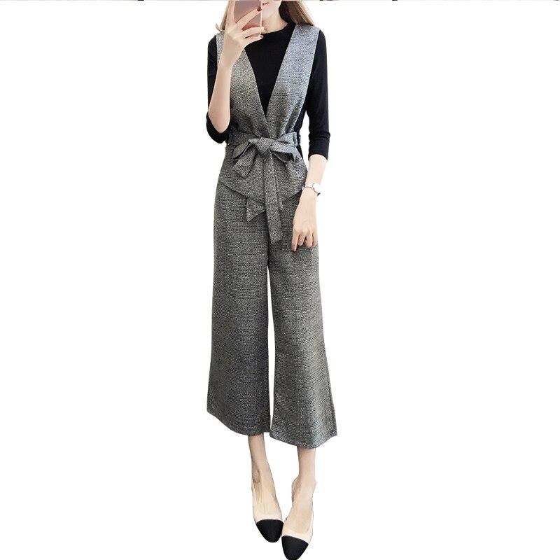 Jambe Pantalon Trois Basant Gilet Et D'hiver Costume Chemise Automne Tempérament Large De Femme Femmes Mode La 1 pièce Nouvelle Wa6wzx8qnO