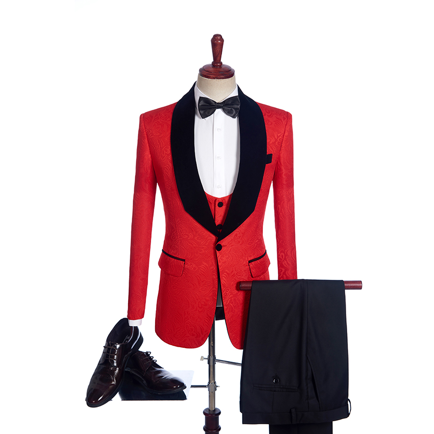 Fnoexw  Customized 2018 Red Groom Tuxedos Wedding Party Suit Business Groomsman Suit Mens Wedding Suits ( Jacket+Pants+vest+tie)