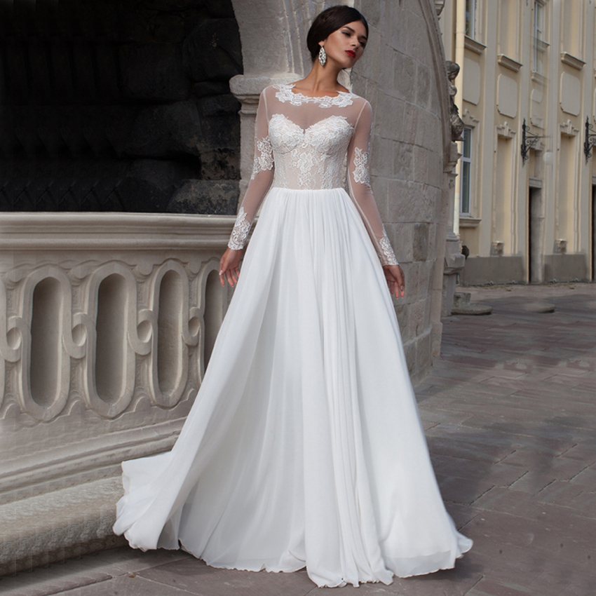 Vestido De Noiva Custom Made New Arrival Chiffon Wedding Dress Long Sleeves Sheer Neckline Elegant Dresses Bride In From