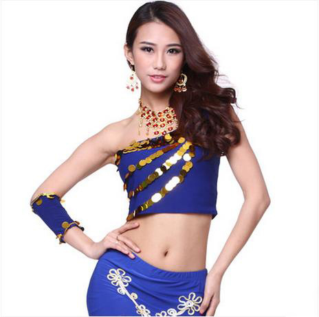 New Arrival Crystal Cotton Belly Dance Top Momen Sequins Single Sleeves Belly Dance Tops Sexy Top 9 Colors