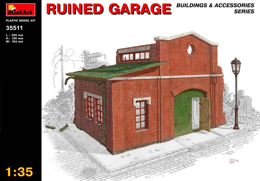 Out of print product! MiniArt 1/35 35511 Ruined Garage (WWII Military Diorama)