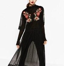 Za 2017ฤดูหนาวVestidosแฟชั่นผู้หญิงOคอชุดลำลองวินเทจลายดอกไม้เย็บปักถักร้อยตาข่ายชุดเครื่องแต่งกายหญิง