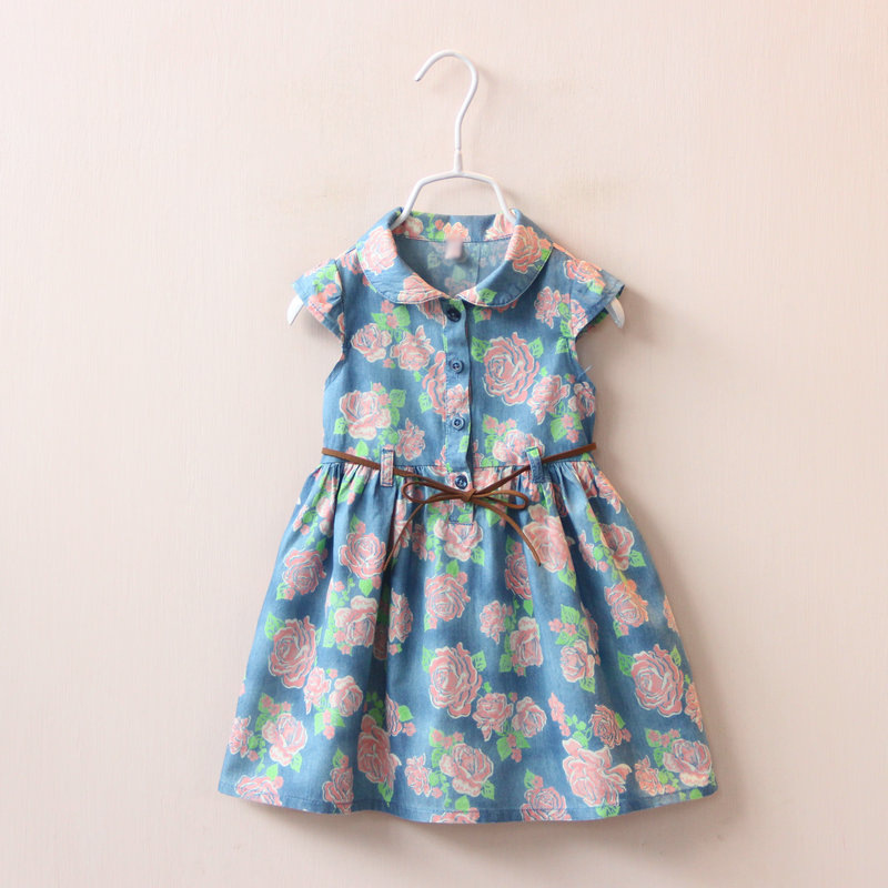 15972m2 2 color into the doll collar belt Flower Printed denim dress wholesale