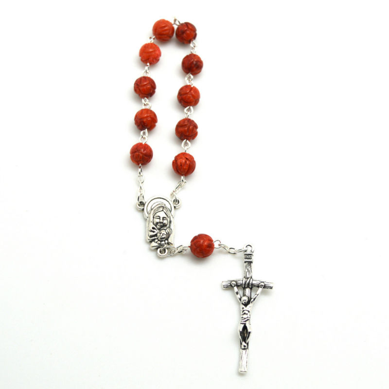 Red coral bead sculpture bead decade rosary