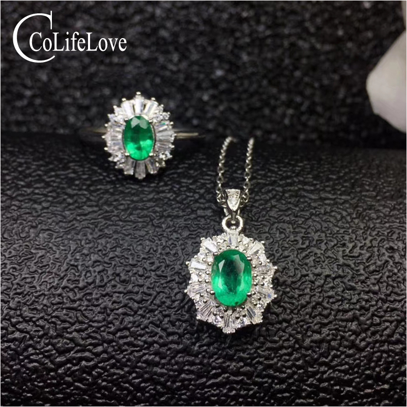 Entry lux emerald jewelry set for office lady 100% real natural emerald ring pendant set solid 925silver emerald wedding jewelry