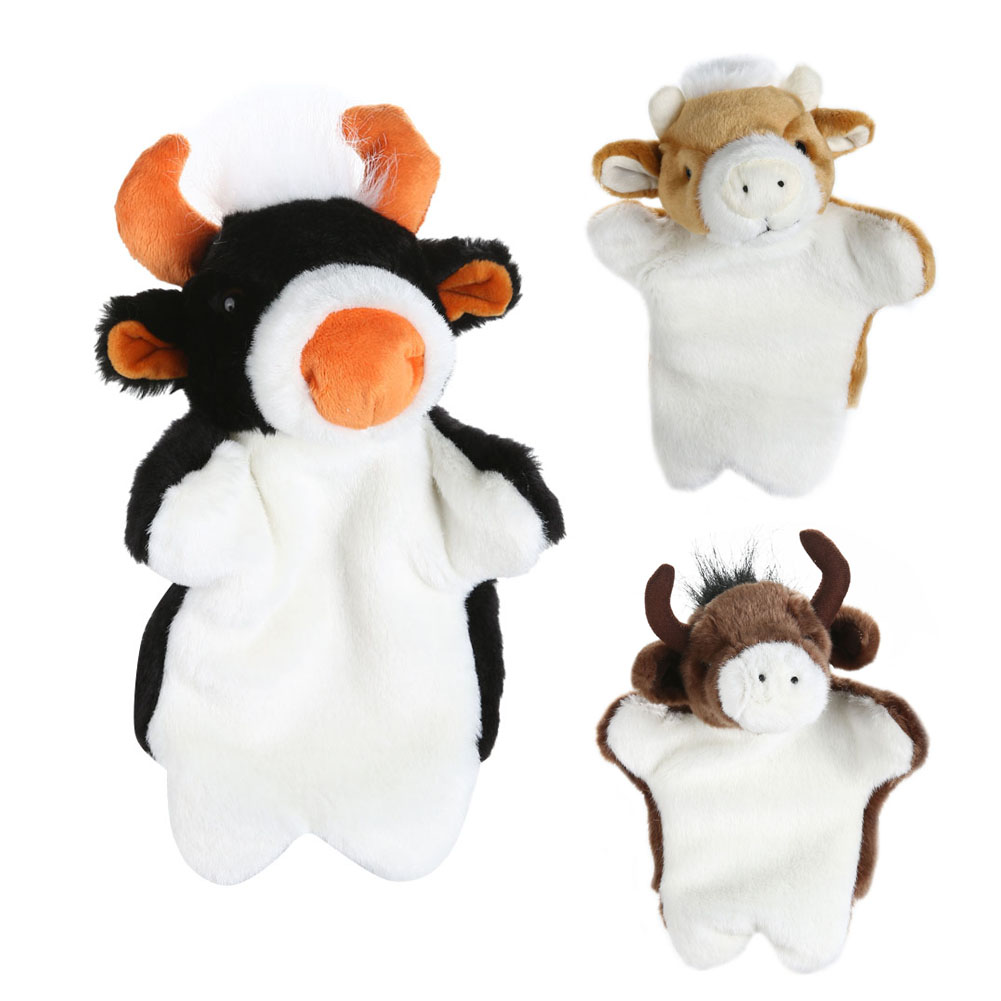 Kids Cartoon Animal Hand Puppet Baby Bull Cattle Buffalo Soft Doll