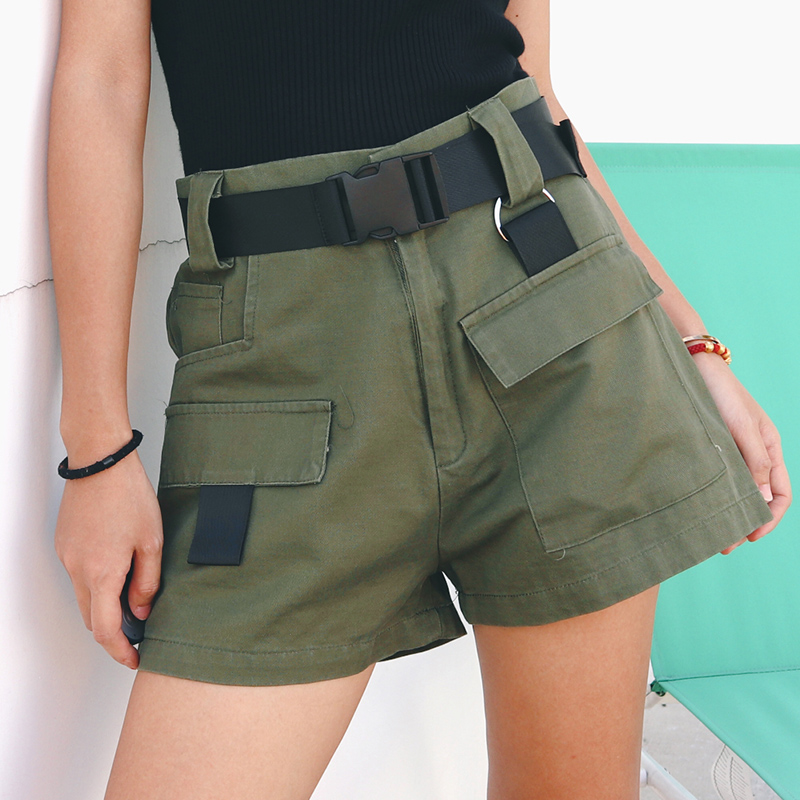 Loose Solid Color Casual   Shorts   Women Summer High Waist Fashion Female   Shorts   With Belt Pokcets