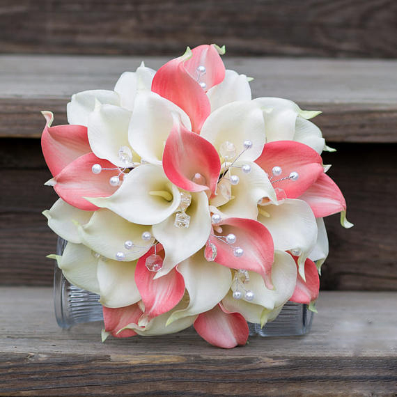 Artificial Calla Flower Wedding Bouquet Pink calla lily flowers 2 ...