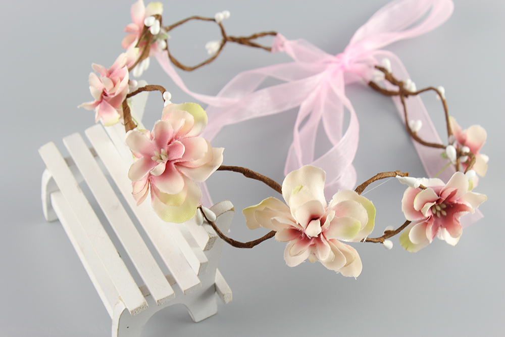 Pink beige Bride Headband Wedding Rose Flower Wreath headband Floral garlands flower crown Hair Accessories forehead