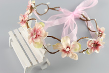 Pink  beige Bride Headband Wedding Rose Flower Wreath headband Floral garlands flower crown Hair Accessories forehead wreath