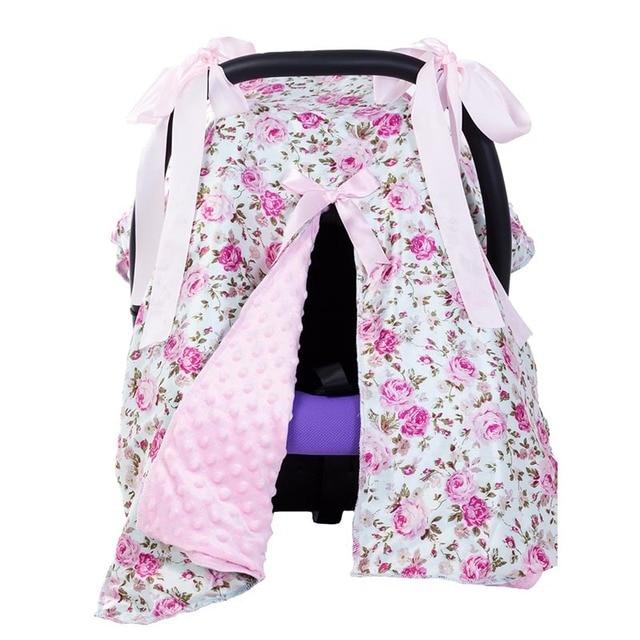 Baby Car Seat Blanket Cover Fashion Bow Newborn Girls Soft Safety Canopy Nursing