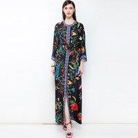 Винтаж принт спереди разрез длинное платье 2018 новая весенняя элегантная брендовая для подиума Женская мода линии платье High End Vestidos