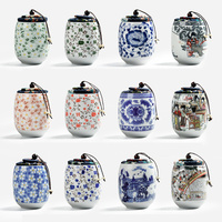 HOT Sale China Style Mini Ceramic Tea Storage Box Food Canister With Cover Food Box Ceramic