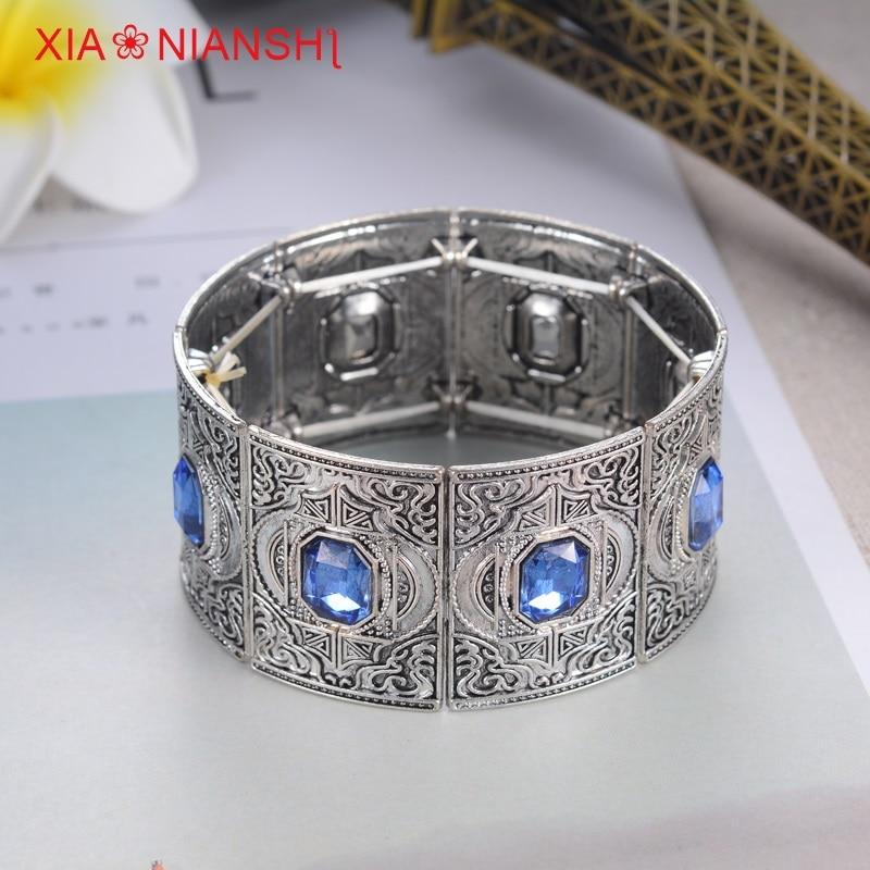 Xiaonianshi yeni tasarım türkiye tarzı erkekler ve kadınlar geniş kenar cuff bilezik ayarlanabilir boyutu kristal hollow bohemia bilezik takı