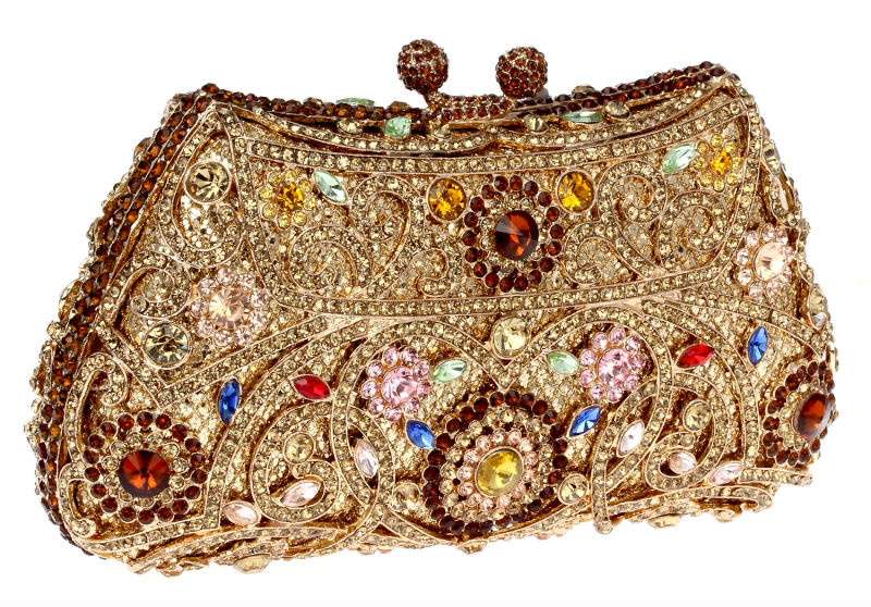 Crystal Flower Golden Brown Color Metal Evening Wedding Bridal Party Night  Purse Clutch Bag Women Handbag-in Evening Bags from Luggage   Bags on ... 6bb2ac9a5d1f3