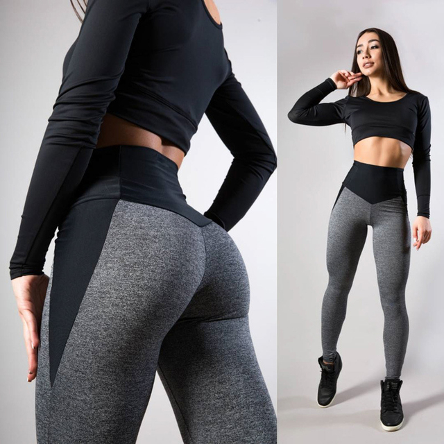 Women's Melange Grey and Black Color Fitness Leggings  2 styles S-XL