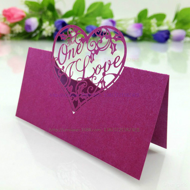 50pcslot hollow love heart wedding invitation laser table name card 50pcslot hollow love heart wedding invitation laser table name card wedding decoration for business junglespirit Images