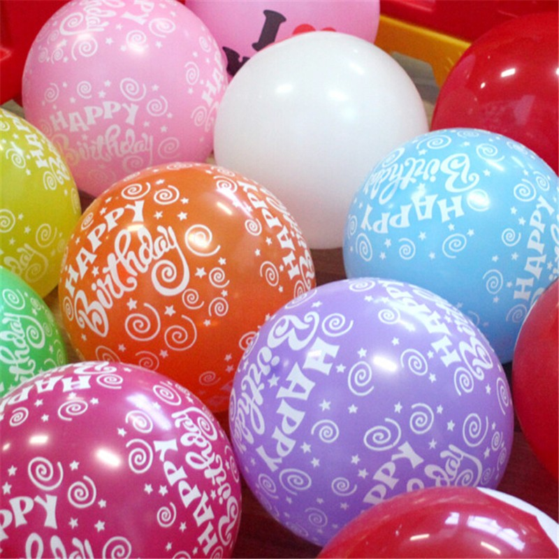 Happy Birthday Balloons 12 Inch Round Mix Colorful Home Decoration Party Inflata