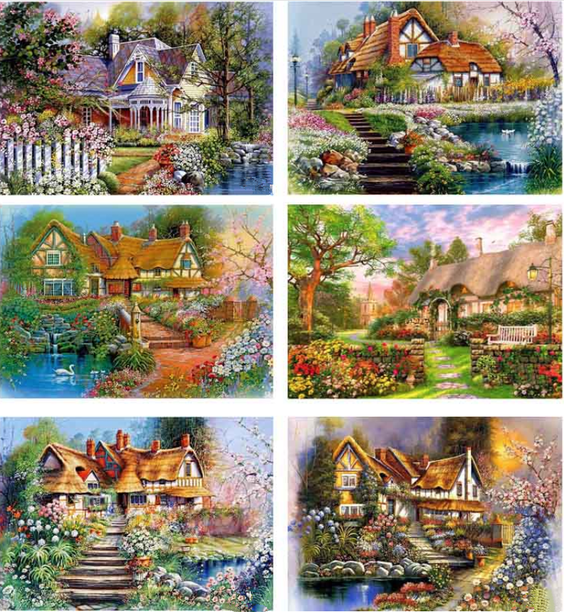 5D Pinturas Cross Stitch Kit Diamante Bordado Diamante Strass pintura Colado casa Europeia villa Decoração diamante