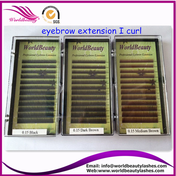 natural curl eyebrow extension, I curl,10 trays/pack, black, dark brown, med brown, M5-6-7-8mm, free shipping and glue ring gift