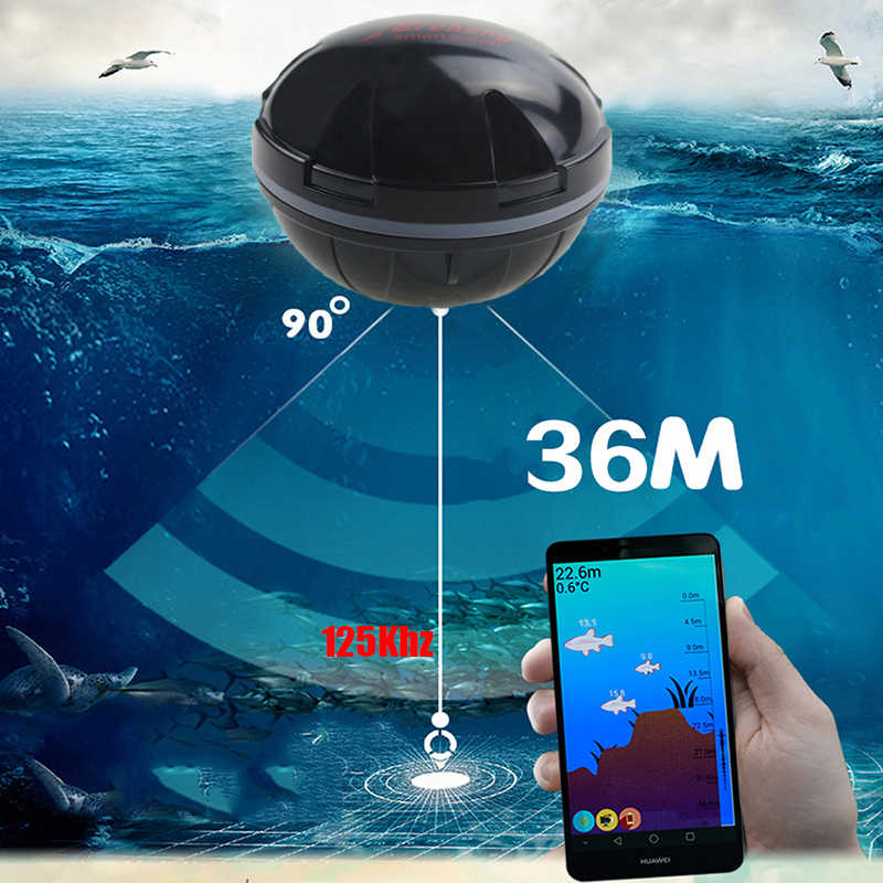 Erchang F3W Portable Fish Finder Bluetooth Wireless Echo Sounder Sonar Sensor Depth Fishfinder for Lake Sea Fishing IOS& Android