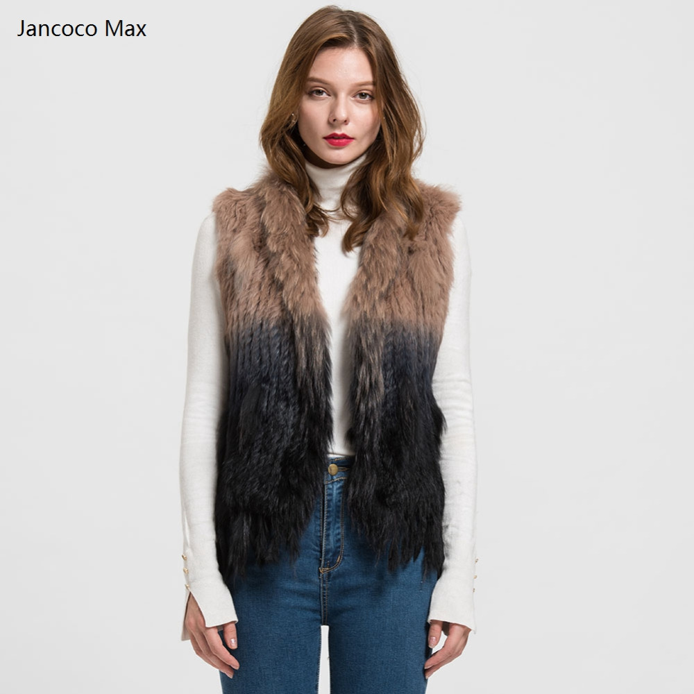 Jancoco Max Popular Real Fur Vest Women Genuine Rabbit Fur Knitted Gilet Winter Fashion Waistcot Raccoon