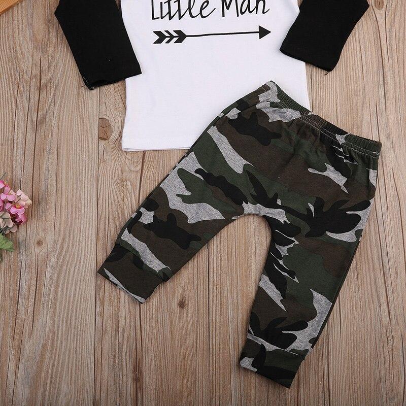 2 шт. для маленьких мальчиков комплект одежды из хлопка с длинными рукавами с принтом букв «Little Man» Топы + камуфляжные штаны детская одежда дл...