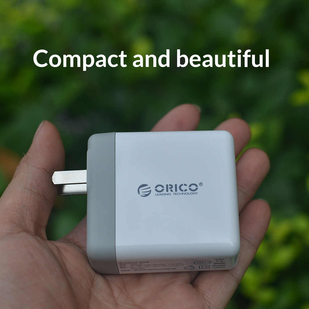Orico Charger Cepat QC2.0 Dual Port Charger Dinding 36W Ponsel USB Charger untuk Iphone Samsung Xiaomi Huawei Portable putih