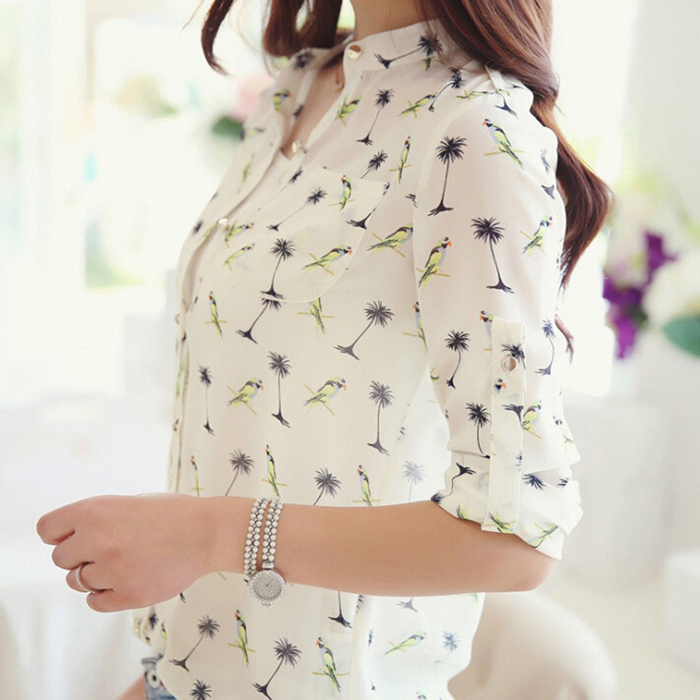 HOT!!!2017 New Women Long Sleeve Bird Print Chiffon   Blouse     Shirts   Fashion Slim Spring Summer Women Casual   Blouses