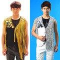 2017 мужской костюм stage костюм певица бар DJ Хип-хоп Ночной Клуб цвет блестками жилет для певица танцор звезды производительности шоу