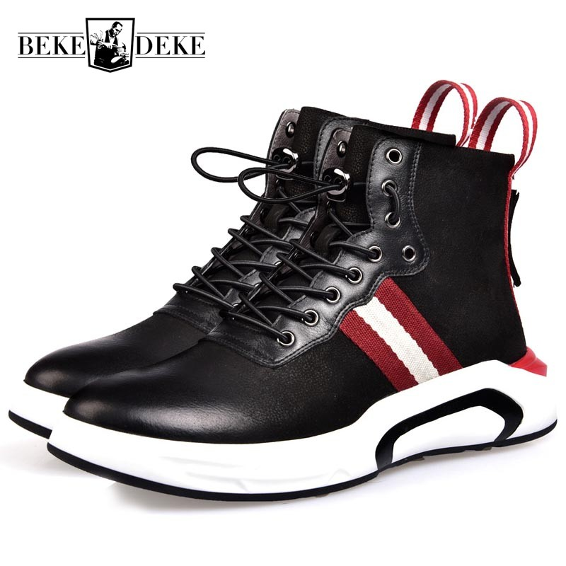 2018 New Students Genuine Leather Casual Shoes Men Thick Bottom Lace Up Punk Male Footwear Brand Zipper Black High Top Zapatos slip on men casual shoes male sandal new fashion genuine leather low heel high quality brand korean style thick bottom plus size